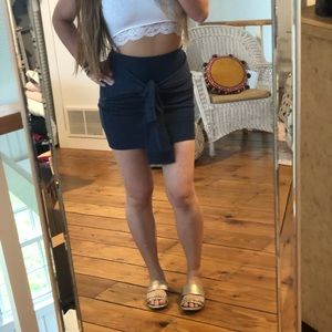 Navy blue mini skirt